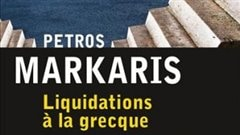 Une partie de la pochette de <i>Liquidations � la grecque, de Petros Markaris
