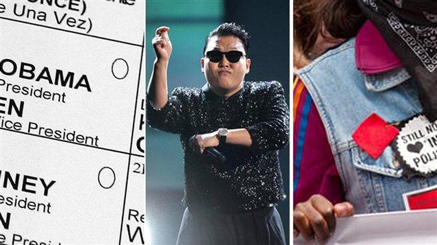 Bulletin de vote, les lunettes du chanteur Psy et le carré rouge.