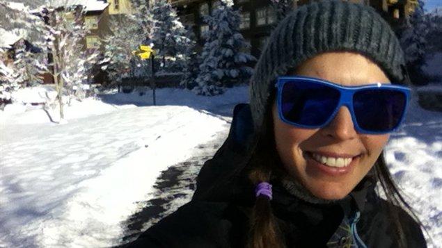 Caroline Calvé à l'entraînement à Panorama, en Colombie-Britannique
