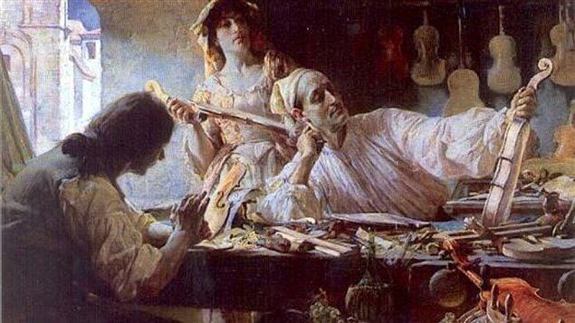 Stradivari imaginé dans son atelier par le peintre anglais Edgar Bundy (1893)