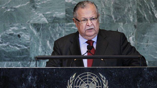 الرئيس العراقي الراحل جلال طالباني مخاطباً الجمعية العامة للأمم المتحدة في 23 أيلول (سبتمبر) 2011.