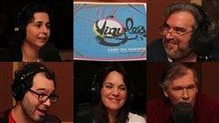 De gauche à droite et de haut en bas : Helen Faradji, Georges Privet, Frédéric Lambert, Geneviève Guérard et Jean Aubry | ©Radio-Canada/Cécile Gladel