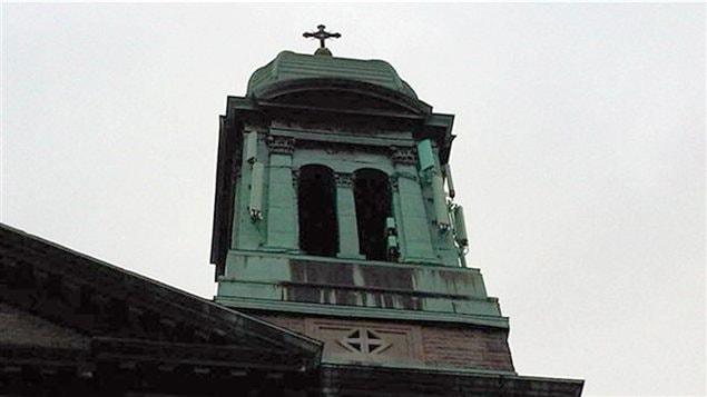 Clocher de l'église Saint-Marc, dans le quartier Rosemont, à Montréal.
