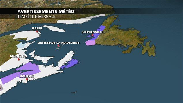 Carte des régions qui seront touchées par la tempête.
