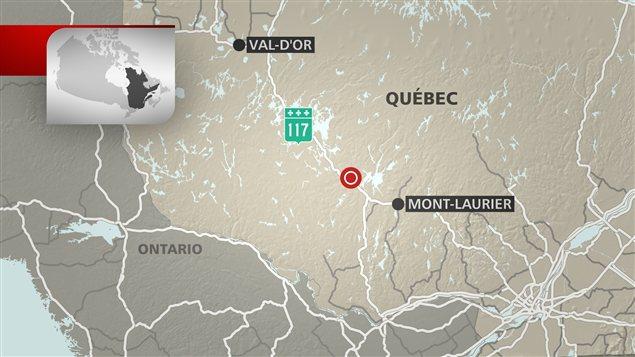 Carte montrant les lieux de l'accident