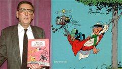 Andr� Franquin en 1989 et d�tail d'une couverture d'un Album de Gaston Lagaffe | �AFP/Pierre Bessard, �ditions Dupuis