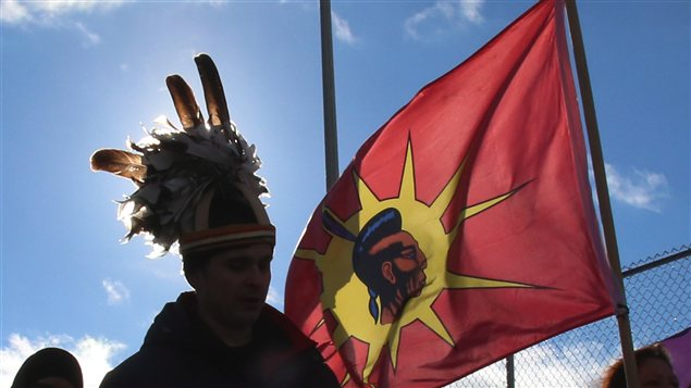 Les manifestants du mouvement Idle No mMore à Cornwall en Ontario