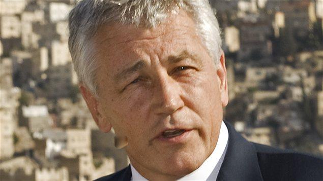 Chuck Hagel, en 2008, sénateur républicain en visite en Jordanie
