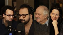 Jonathan Livernois, Mani Soleymanlou, Georges Leroux et Nathalie Collard | © Radio-Canada / Philippe Couture