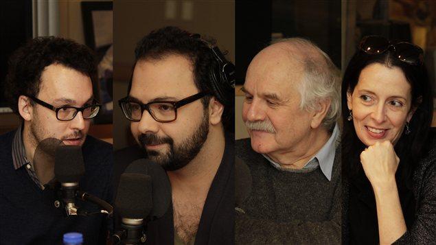 Jonathan Livernois, Mani Soleymanlou, Georges Leroux et Nathalie Collard | © Radio-Canada / Philippe Couture