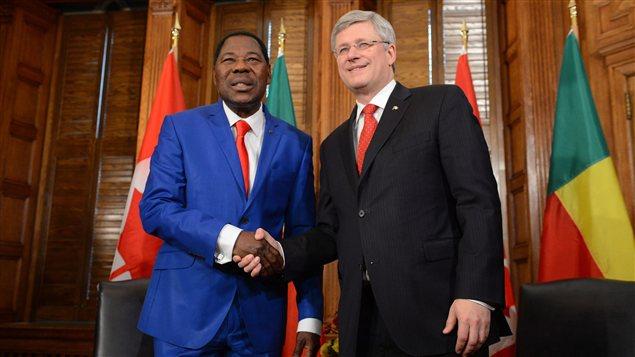 Le président du Bénin Thomas Boni Yayi et le premier ministre Stephen Harper