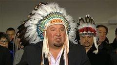 Le grand chef de l'Assembl�e des chefs du Manitoba, Derek Nepinak, en conf�rence de presse � Ottawa, le 10 janvier 2013.