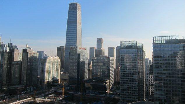 Le China World Trade Center, à Pékin, par temps clair