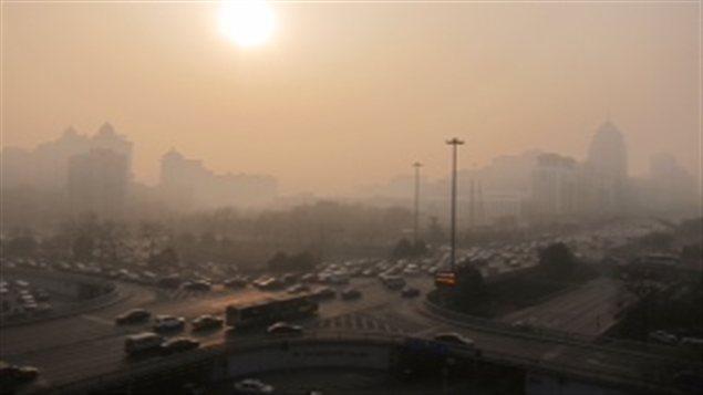 Image de Pékin lorsque l'indice de pollution est très élevé (11 janvier 2013)