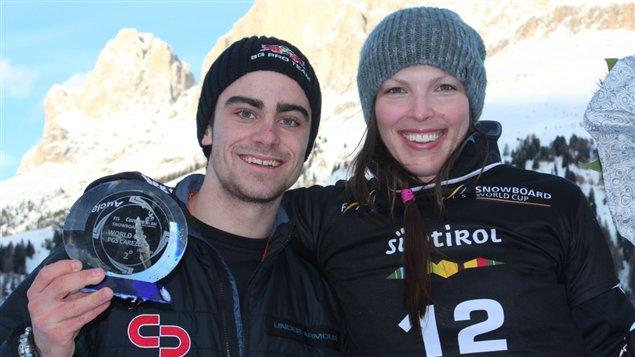 Caroline Calvé après sa deuxième place à Carezza avec son coéquipier Indrik Trahan