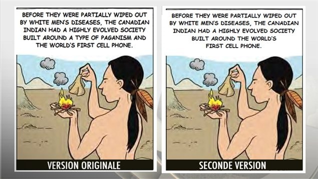 Deux versions de la même caricature sont parues dans l'édition du 14 janvier 2013 du journal de Morris, au Manitoba.