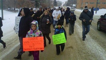 Des manifestants du mouvement Idle No More à Saskatoon