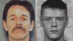 Photos signalétiques de Justin Blue West, à gauche, alors âgé de 54 ans et de Dustin Moir, alors âgé de 22 ans, à leur arrestation en 2007 par la Gendarmerie royale du Canada en Colombie-Britannique.