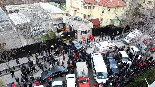 Ambassade des États-Unis à Ankara après l'explosion