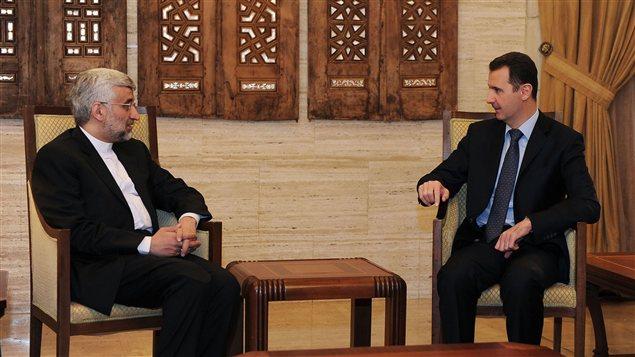Bachar Al-Assad lors d'un entretien le 3 février avec Saïd Jalili, qui préside le Conseil national iranien de sécurité