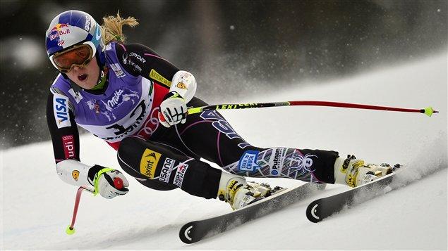 L'Américaine Lindsey Vonn avant sa chute pendant le super-G de Schladming, en Autriche