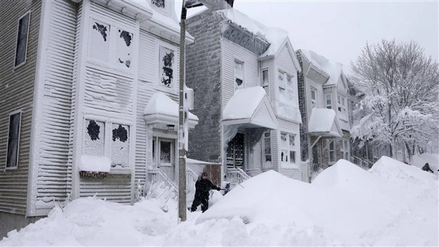 Une rue de Boston, après la tempête