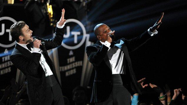Justin Timberlake et Jay-Z lors de la cérémonie des Grammys, dimanche à Los Angeles.