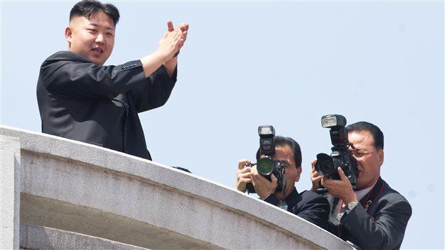 Le président nord coréen Kim-Jong-un lors d'une parade militaire le 15 avril 2012