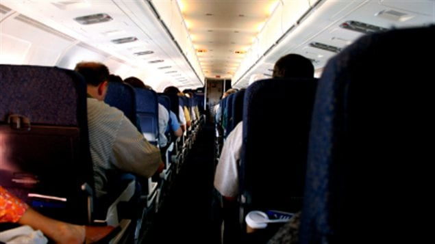 L'intérieur d'un avion commercial