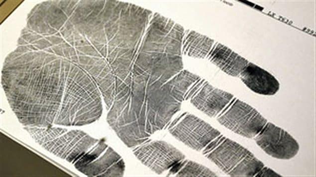 Un empreinte de la main entière, incluant la paume