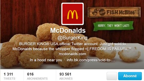 Le compte twitter de Burger King a été piraté et transformé en un compte McDonald's
