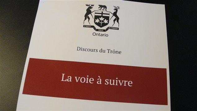 Le discours du Trône de la 40e législature de l'Ontario