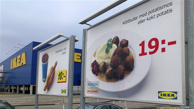Publicit d&#39;Ikea, en Sude, annonant ses clbres boulettes  la viande