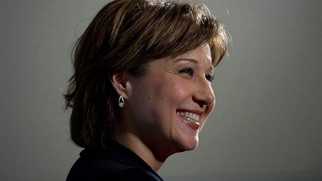 La premire ministre de la Colombie-Britannique Christy Clark lors d&#39;une rencontre avec la Chambre de commerce de Vancouver le 20 fvrier 2013.
