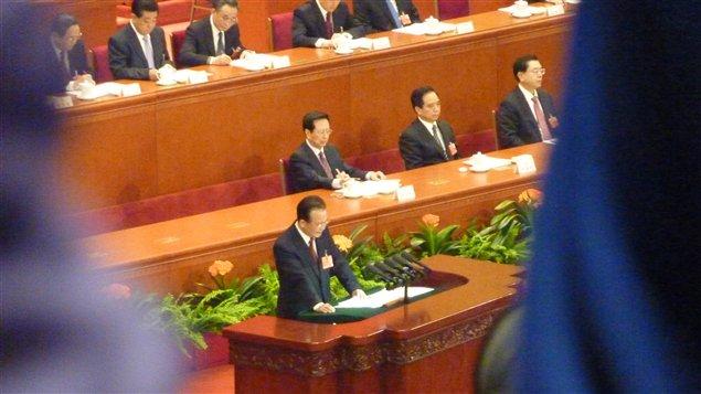 Wen Jiabao, le premier ministre sortant, à l'Assemblée nationale populaire de Chine