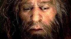 Gros plan sur le visage d'un homme de N�andertal