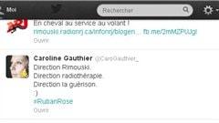 Extrait d'un tweet envoyé par Caroline Gauthier, qui apprécie le soutien que lui offre les contacts par réseaux sociaux durant sa maladie.