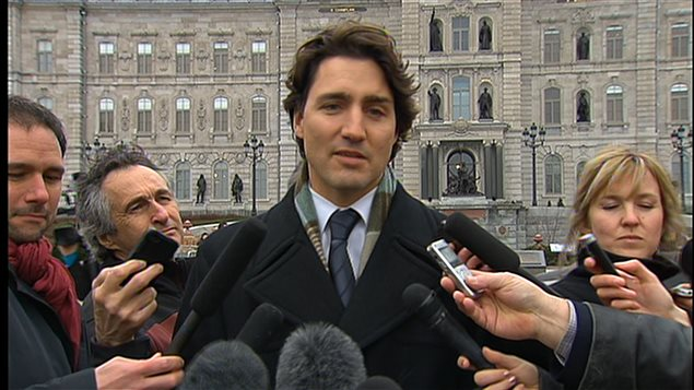 Justin Trudeau devant le Parlement du Québec