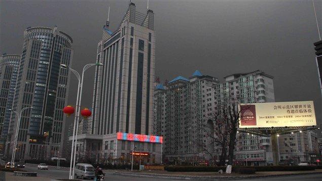 La ville de Dandong, en Chine, à la frontière avec la Corée du Nord. Photo : Lei Yang