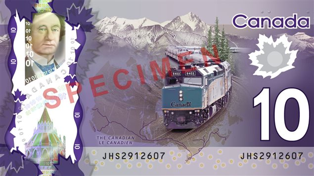 Le billet de 10 $CAN en polymère, dévoilé le 30 avril 2013 par la Banque du Canada.