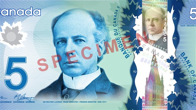 Le recto du nouveau billet de 5 $ en polymère dévoilé par la Banque du Canada, le 30 avril 2013.