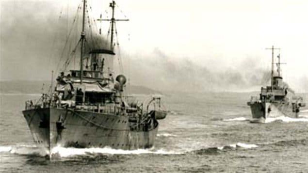 Royal Canadian Navy corvettes leaving Halifax, April 1941