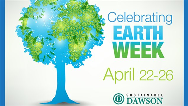 Afiche de la celebración de la Semana de la Tierra en el Colegio Dawson.