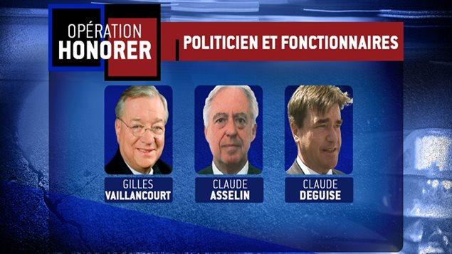 Gilles Vaillancourt, Claude Asselin et Claude Deguise sont notamment accusé de gangstérisme.