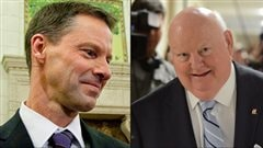 Le chef de cabinet du premier ministre Stephen Harper, Nigel Wright (gauche), a rembours les dpenses de rsidence du snateur Mike Duffy (droite).