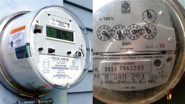 À gauche : le compteur intelligent qu'Hydro-Québec compte installer partout d'ici 4 ans. À droite : les anciens compteurs hydroliques qui disparaîtront.
