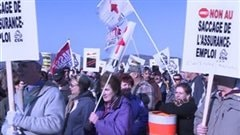 Manifestation contre la rforme de l'assurance-emploi  Pointe--la-Croix.