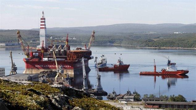 Arctic oil rig.