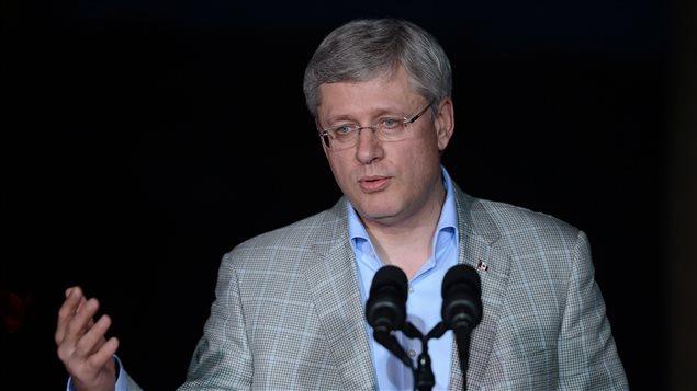 Stephen Harper à une conférence de presse en Colombie, le 23 mai.
