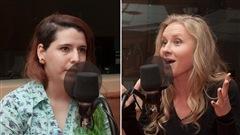 Deux militantes québécoises du groupe Femen, Julianne Beaulac et Xenia Chernyshova. <i>Photo : Radio-Canada/Olivier Lalande</i>